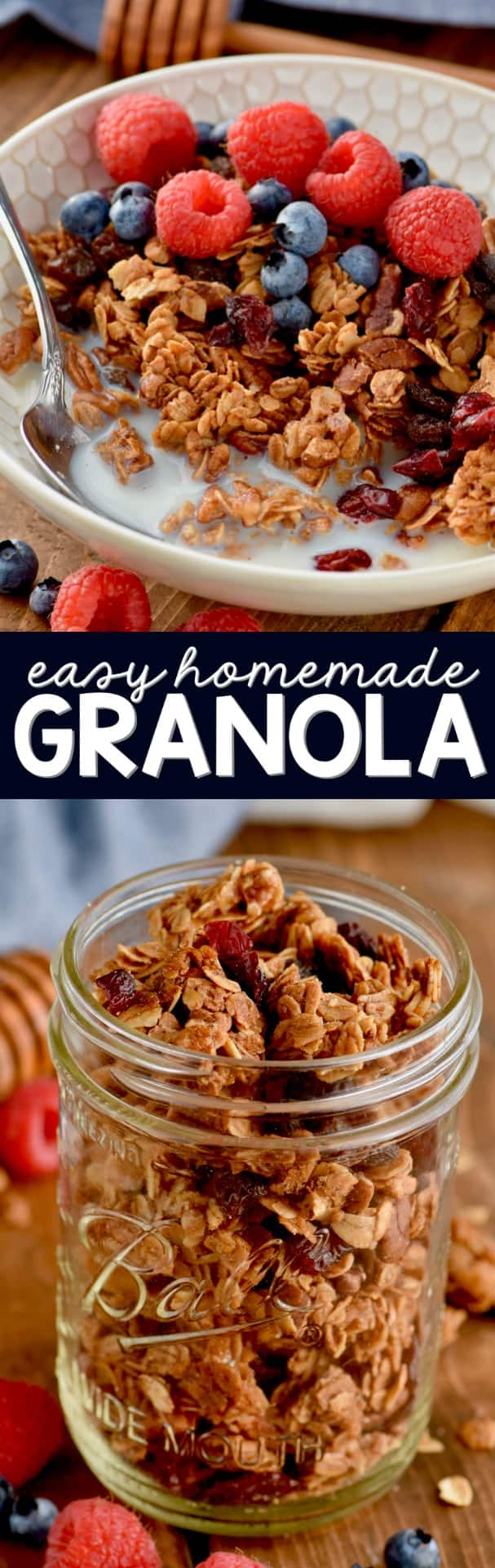 This easy Homemade Granola Recipe with honey is full of easy to find ingredients that can be customized depending on what flavor you are going for!