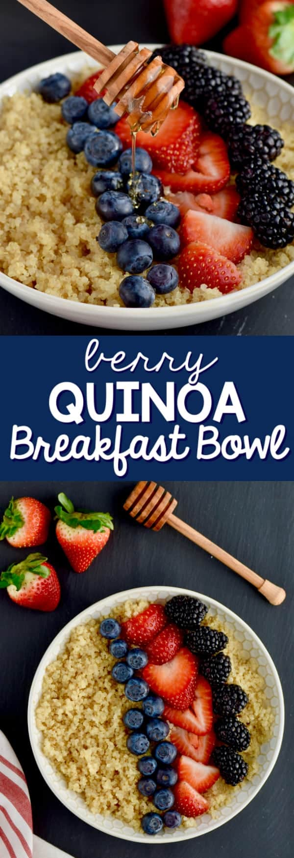 Photos of a bowl of Quinoa topped with blueberries, cut strawberries, and black berries.