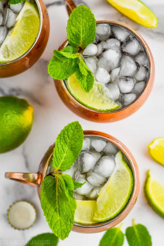 overhead view of moscow mule drink in copper mugs