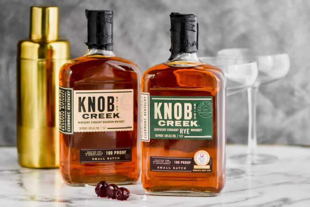 two bottles of knob creek (one rye, one bourbon) to make a Manhattan