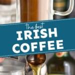 pinterst graphic with Irish coffee photos