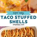 pinterest graphic of taco stuffed shells