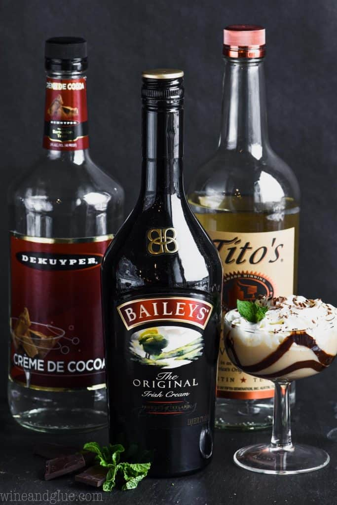 ingredients for chocolate baileys martini