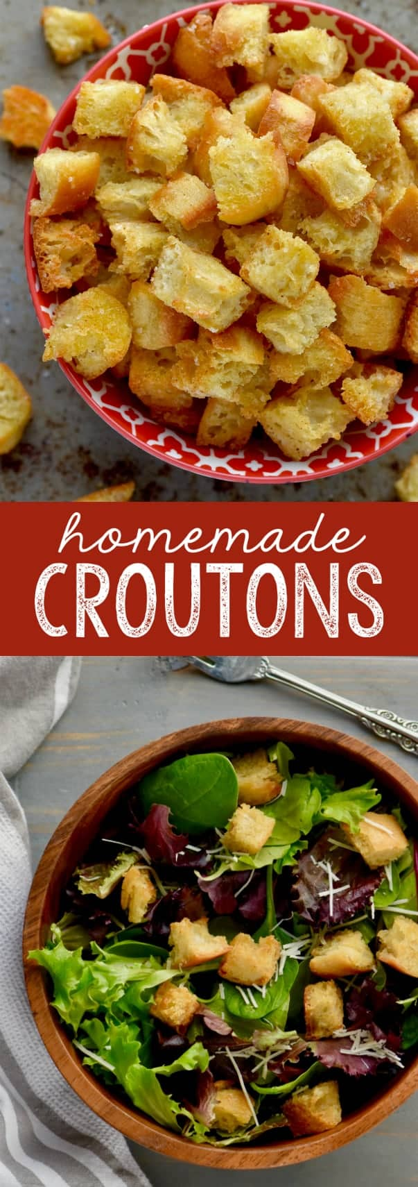 A collage of the Homemade Croutons: the top photo shows the Homemade Croutons in a red bowl, and the bottom photo shows the Homemade Croutons in a simple salad.