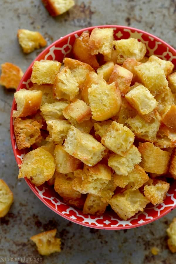 Homemade croutons recipe wine glue these garlic croutons are perfect on soup especially this creamy tomato bisque or just tossed on an easy side salad learn how to make croutons that are forumfinder Gallery