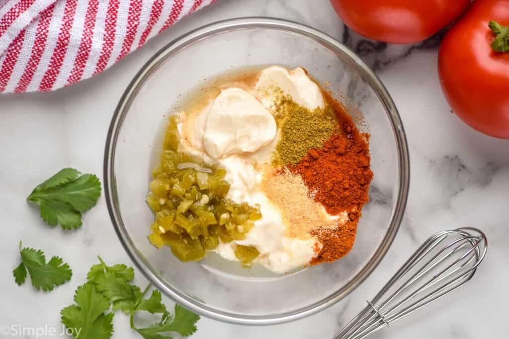 overhead of ingredients for Taco Bell quesadilla sauce broken down by ingredients