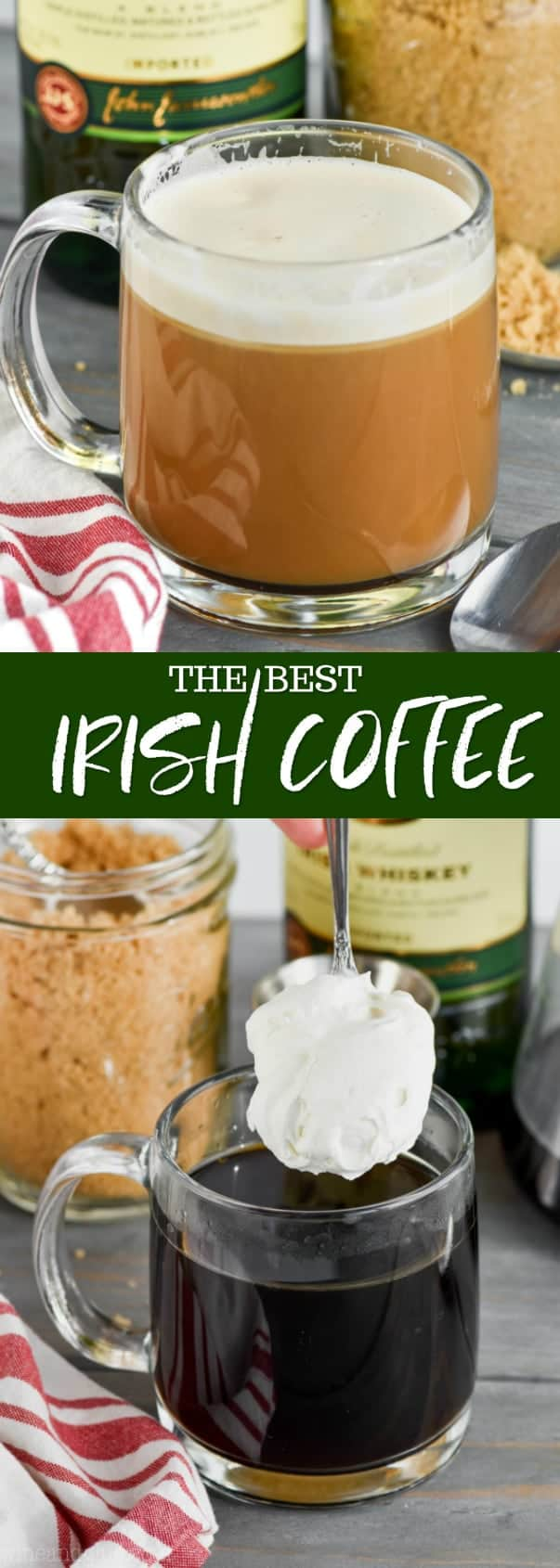 collage of pictures of the best irish coffee recipe