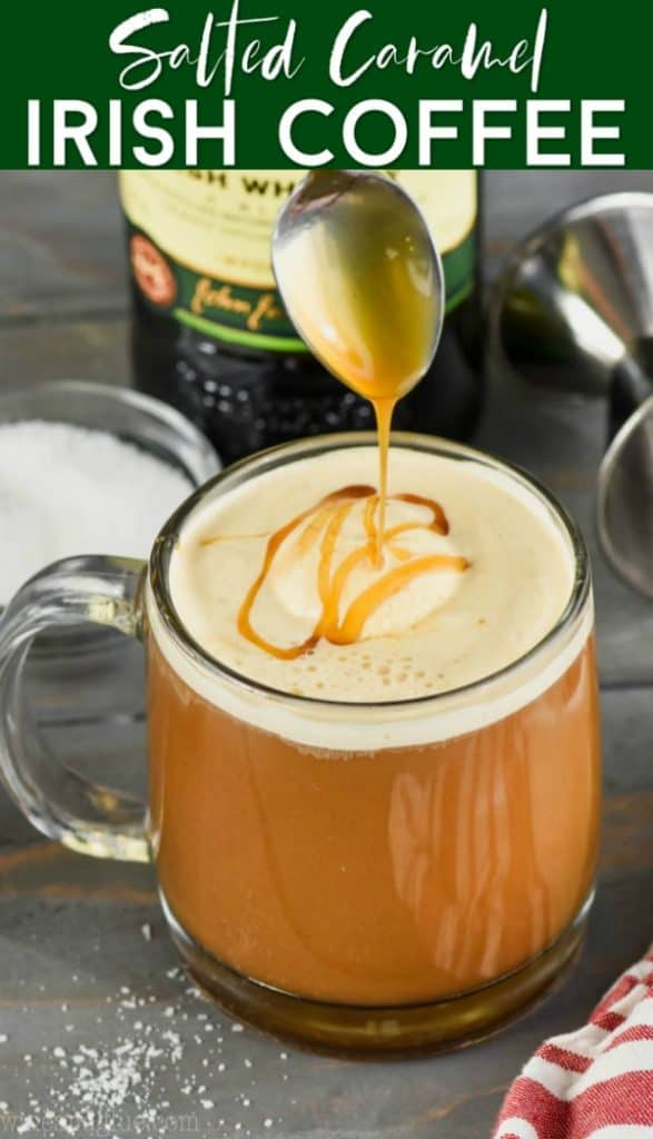 a drizzle of caramel going over a creamy irish coffee recipe