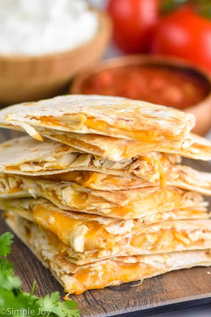 a stack of Taco Bell chicken quesadillas