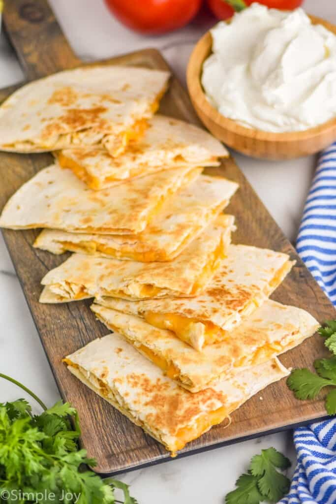 triangles of Taco Bell quesadillas on a platter