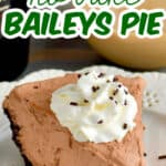 a piece of no bake baileys pie on a white plate