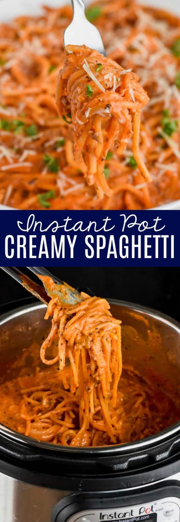 forkful of creamy instant pot spaghetti
