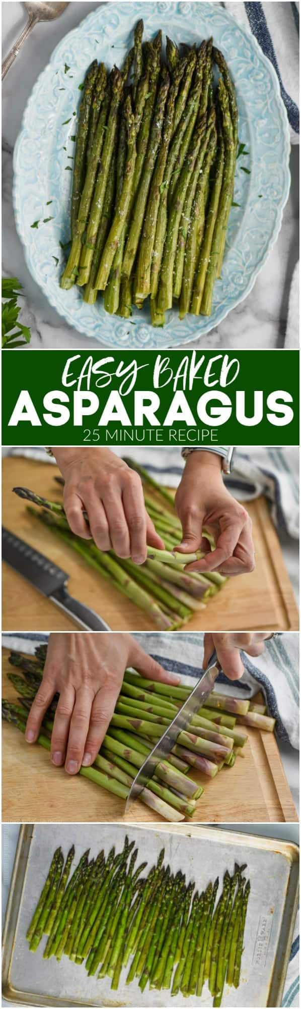 collage of making oven roasted asparagus