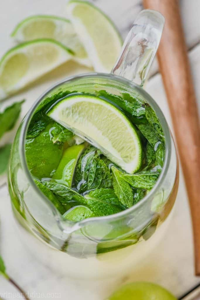 over head shot of mojito sangria with mint and lime