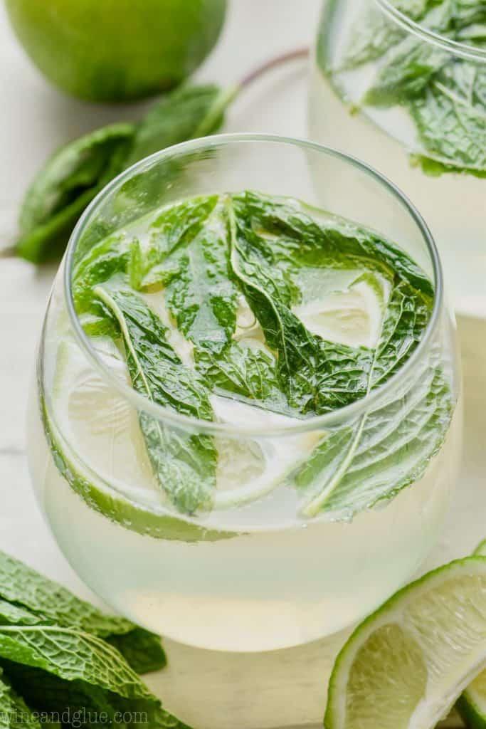 up close glass of mojito sangria