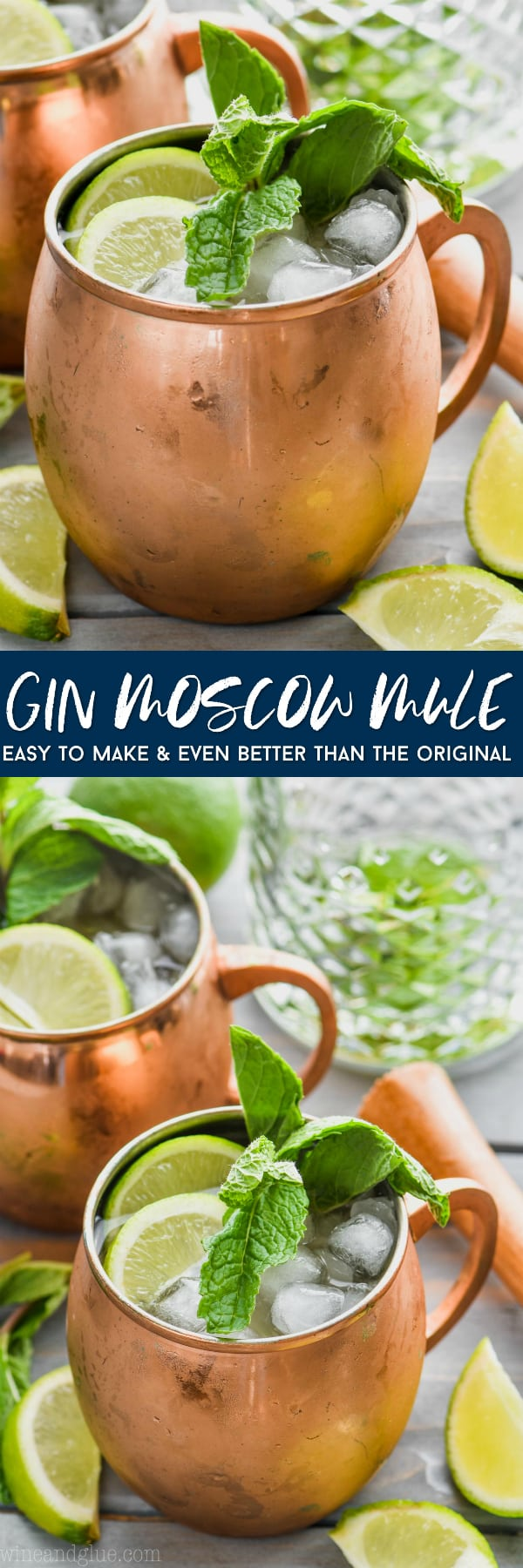 moscow mule with gin in copper mug garnished with mint and lime