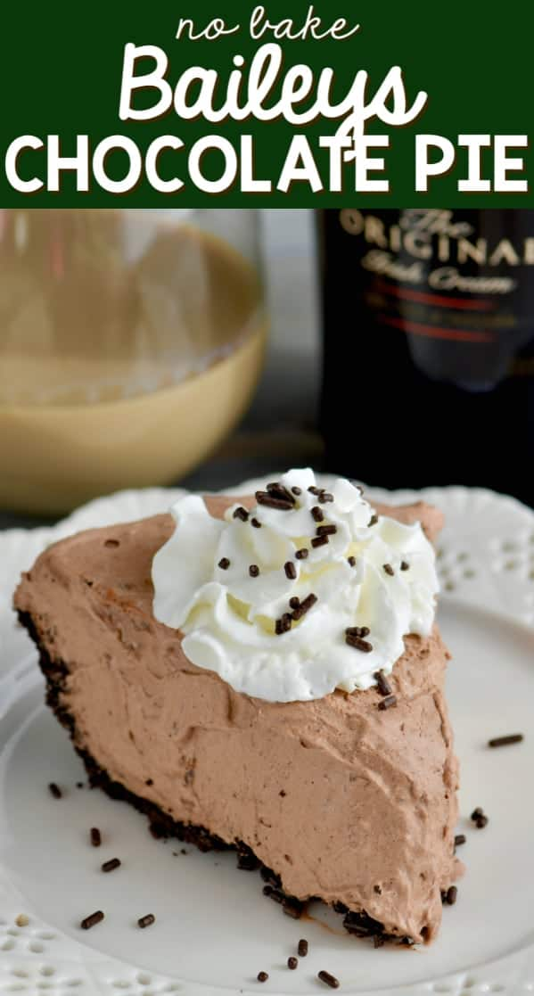 A slice of No Bake Baileys Chocolate Pie with a small dollop of whip cream and chocolate sprinkles.