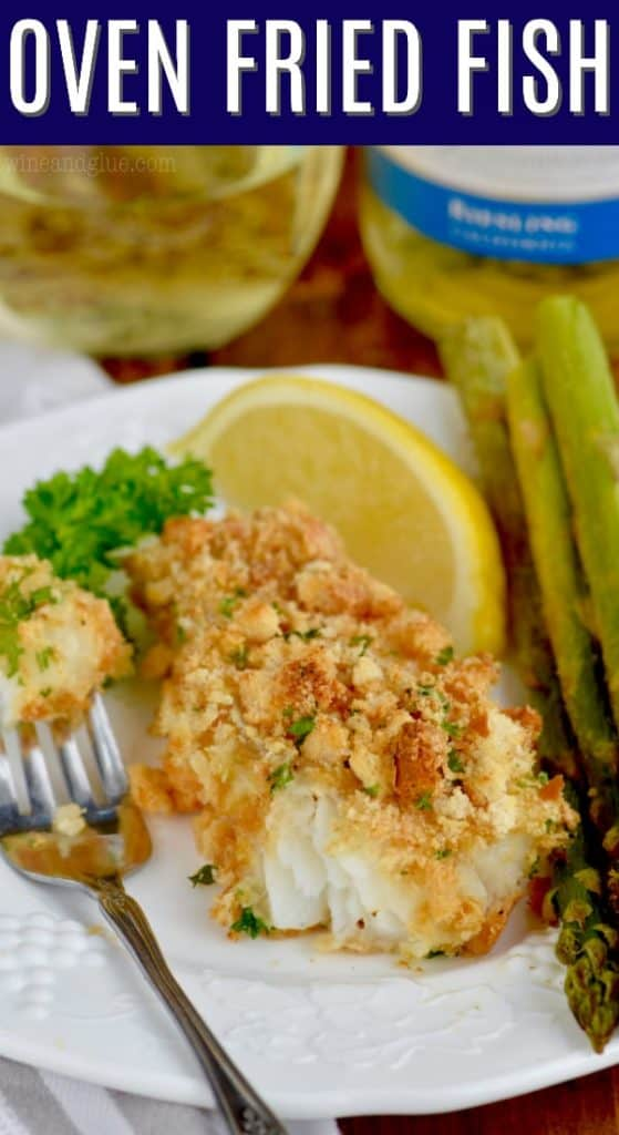 baked fish that is breaded with a fork bite missing