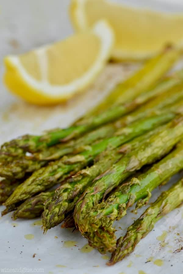 up close asparagus on a baking sheet