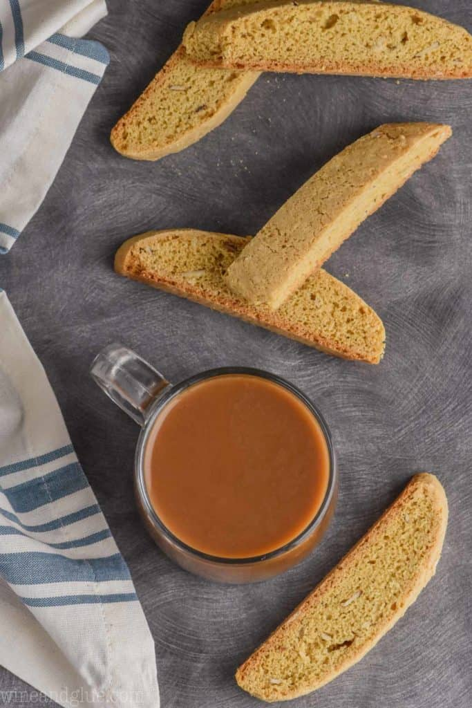 overhead shot of almond biscotti recipe with coffee