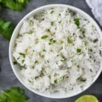 overhead view of bowl of cilantro lime rice recipe