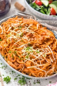 side view of a platter of instant pot spaghetti