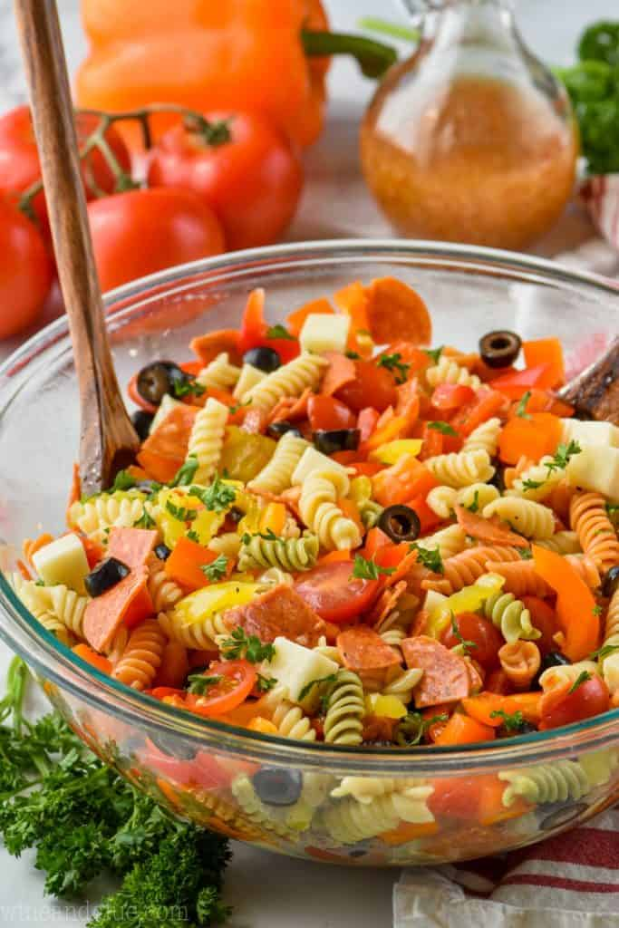 the best Italian pasta salad in a big bowl