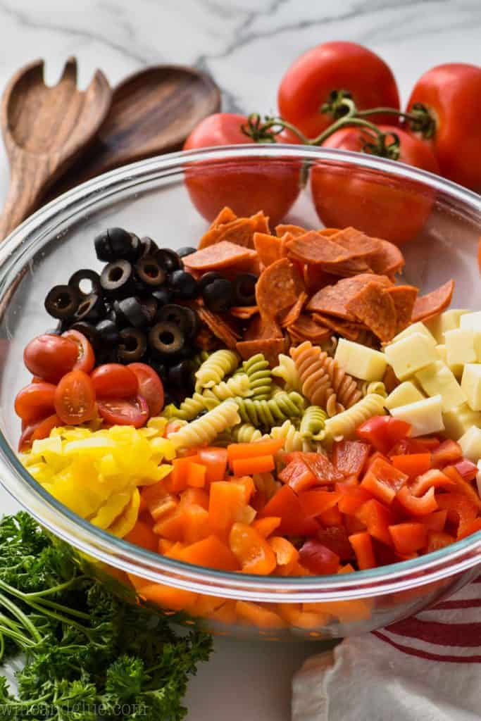 Italian pasta salad recipe in a bowl with ingredients
