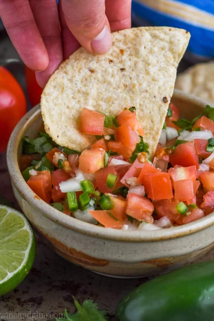 chip dipping into pico de gallo recipe