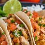 close up picture of instant pot taco chicken with pico de gallo recipe