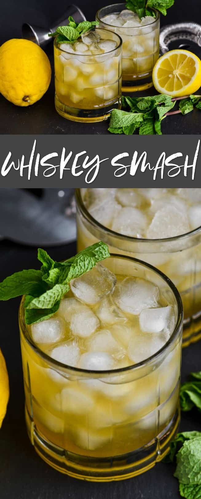 collage of photos of whiskey smash