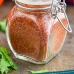 pinterest graphic of a small jar of fajita seasoning