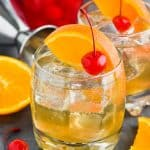 how to make the best amaretto sour in a glass with cherry and orange