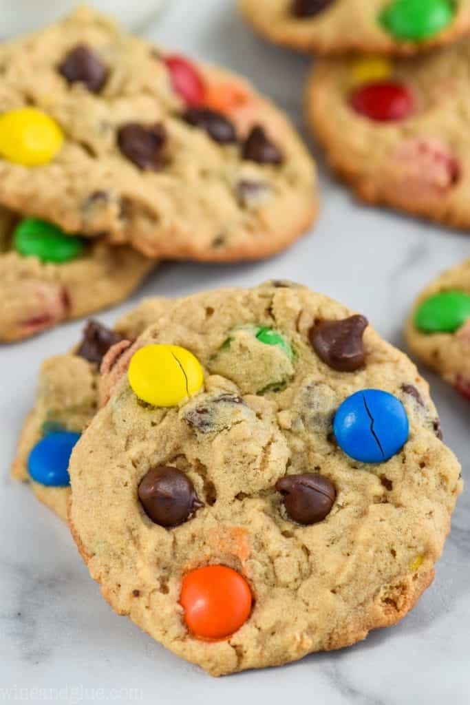A picture of the Monster Cookie that has chocolate chips and M&M