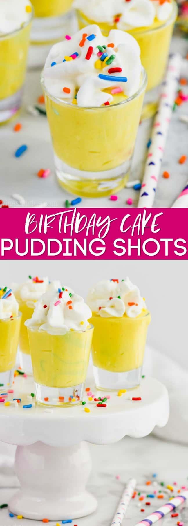 collage of photos of birthday cake pudding shots