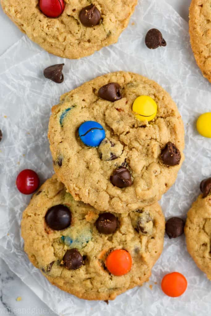 over head view of monster cookie that has chocolate chips and M&Ms