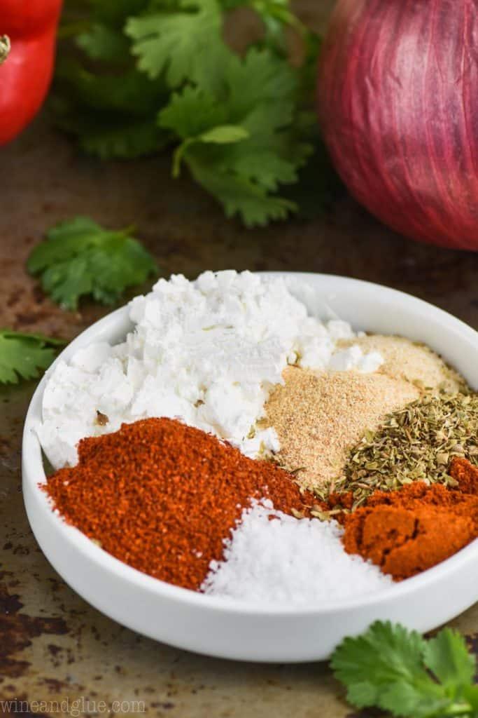 fajita seasoning recipe in a small dish with ingredients separated