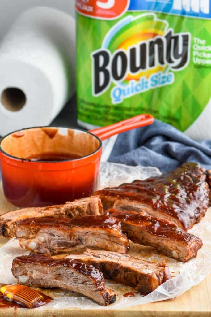 oven baked ribs with bounty paper towels in the background