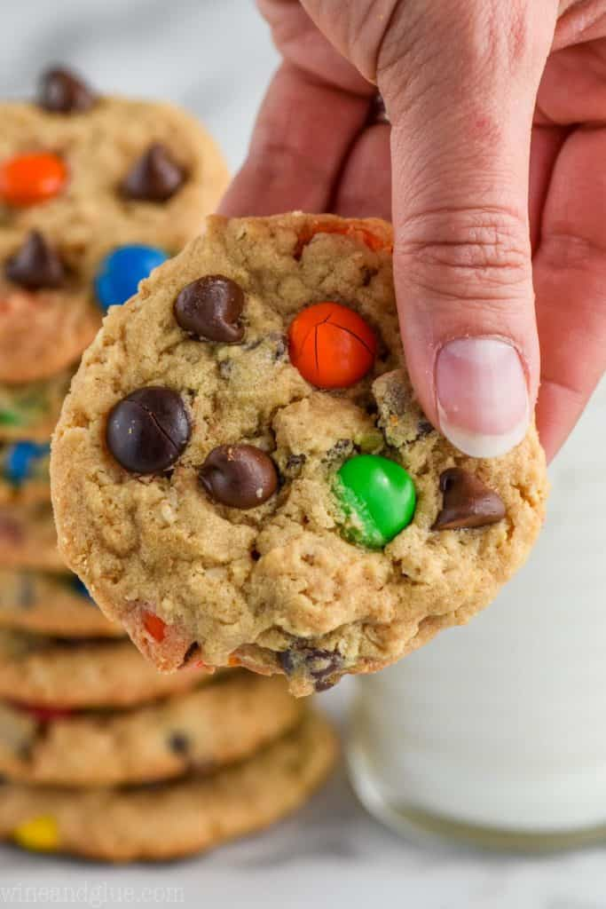 hand holding classic monster cookie