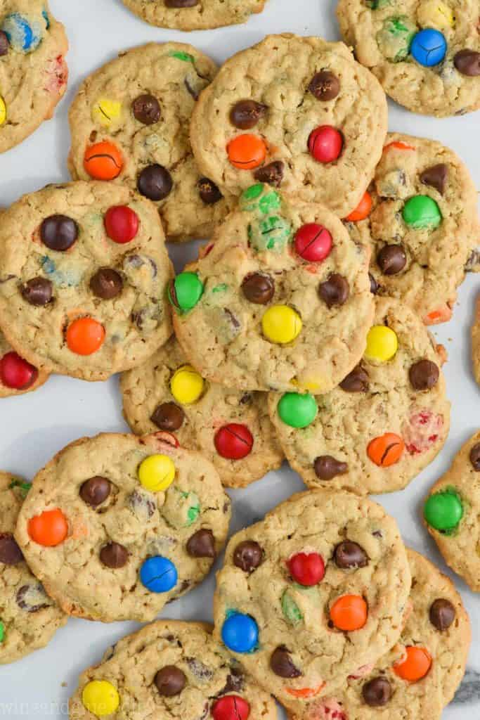 An overhead photo of a large pile of the best monster cookie recipes