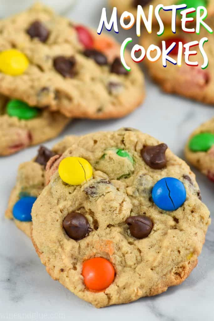 picture of the best monster cookie that has chocolate chips and M&Ms