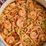 over head view of one pot shrimp fajita pasta