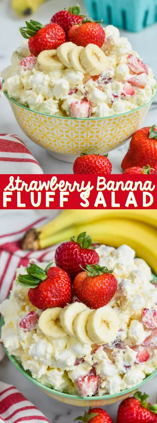 collage of strawberry banana fluff salad recipe