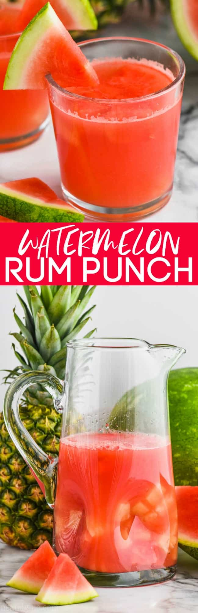 collage of photos of watermelon rum punch