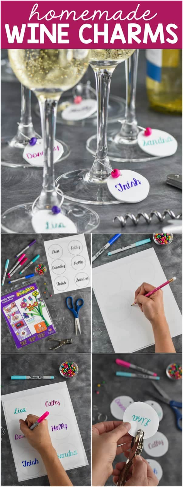 A collage of five photos showing how to create homemade Wine Charms