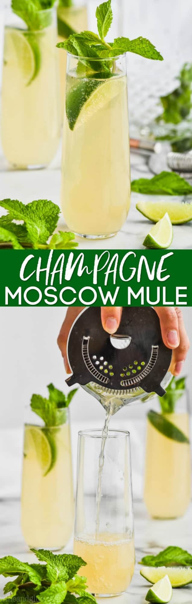 collage of photos of champagne moscow mule