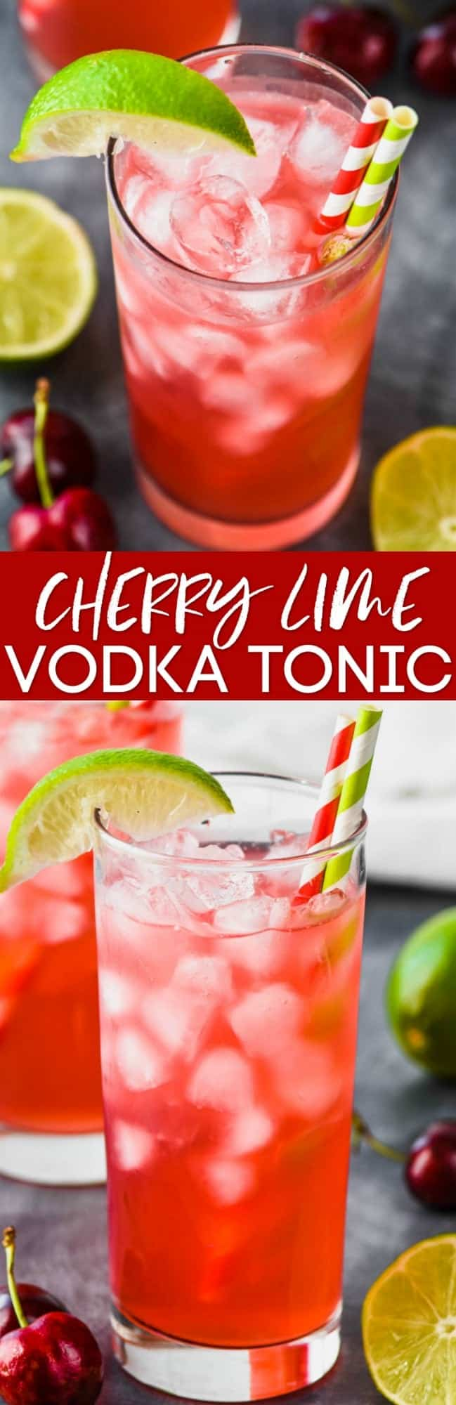 collage of photos of cherry lime vodka tonic