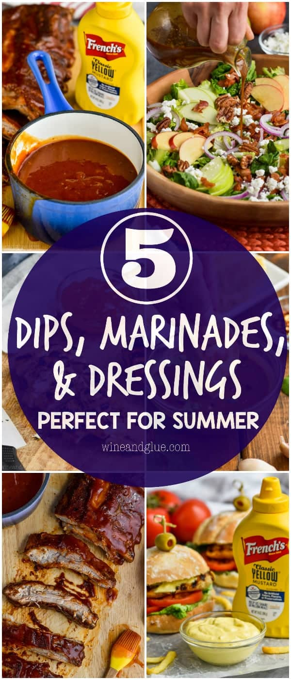 A collage of six photos showing the 5 different dips, marinades, and dressing