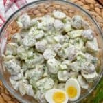 overhead view of healthy potato salad with two hard boiled eggs