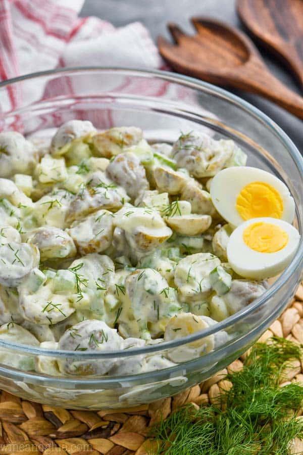 big serving bowl full of healthy potato salad